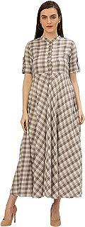 Jaipur Kurti Women Self Print Handloom Long Dress (Brown)