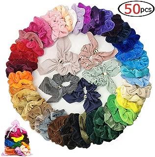 50 Pcs Girls Scrunchies for Hair,45 Solid Colors Hair Scrunchies Velvet Elastics Bobbles Hair Bands Scrunchy and 5 Pack Hair Bow Chiffon Ponytail Holder Elastic Hair Bands