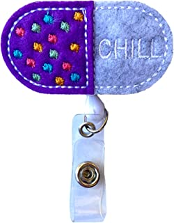 Chill Pill Nurse Retractable Badge Reel Holder – Nursing Name Badge Holder – Felt Badge Reel for Nurses, Students & Doctors – Cute & Practical ID Badge Holder – Alligator Clip – Easy to Use