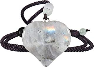 SUNYIK Love Heart Crystal Stone Pendant Necklace for Women Men, Healing Crystal Amulet Jewelry for Unisex with Adjustable ...