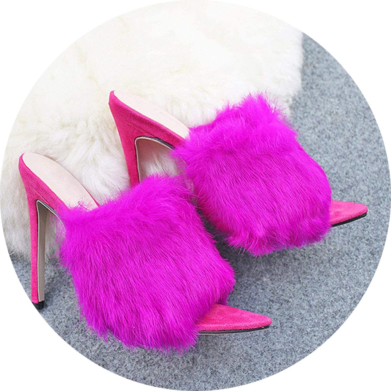 Get-in Women Slippers Mules High Heels Summer shoes Fur Sexy Peep Toes Woman Slides Outdoor Sandals
