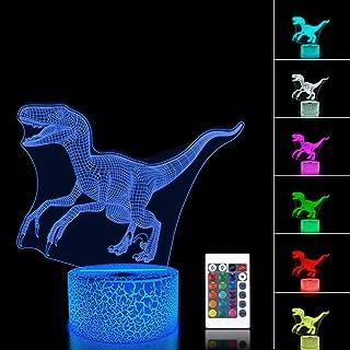FULLOSUN 3D Night Light Jurassic Dinosaur Velociraptor...