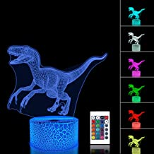 FULLOSUN 3D Night Light Jurassic Dinosaur Velociraptor Raptor LED Nightlight Baby Nursery Lamp for Kids' Room Xmas Birthday Gifts with Remote Control 16 Color Changing