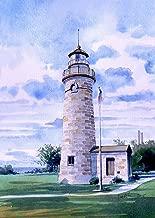 Erie Land Lighthouse, Old Presque Isle Light, Lake Erie, Pennsylvania. James Mann Watercolor Prints (5x7)
