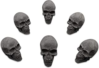 Trees&Forrest Imitated Human Skull Gas Log for Indoor or Outdoor Fireplace Fire Pits Halloween Decor Charcoal 6-Pack Dark Gray