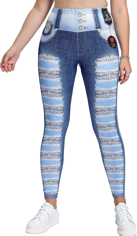 Milumia Women's Plus Size Elastic Waist Leggings Graphic Print Stretchy Faux Jean Pants
