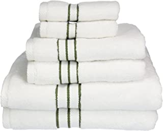 Superior Hotel Collection 900 Gram, Long-Staple Combed Cotton 6 Piece Towel Set, White with Forest Green Border