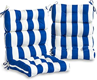 South Pine Porch AM6809S2-CABANA-BLUE Outdoor High Back Chair Cushion, Set of 2, Cabana Blue Stripe