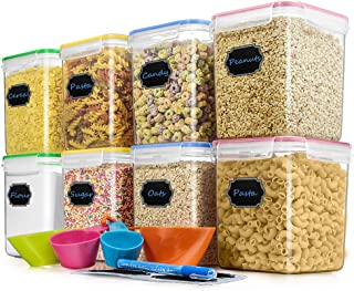 Cereal Container Food Storage Containers, Blingco Set of 8 (2.5L/85oz) Airtight Dry Food Storage Containers with Lids - BPA Free Plastic for Flour, Sugar, Cereal and Pantry Storage Containers