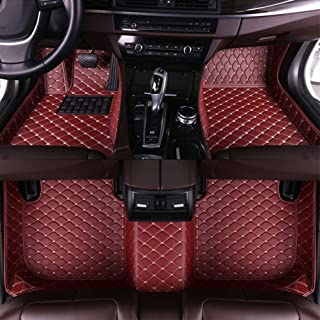 8X-SPEED Custom Car Floor Mats for Fiat 500 2011-2012 Hatchback Full Coverage All Weather Protection Waterproof Non-Slip Leather Liner Set Wine red