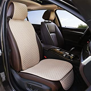 Bamboolady Linen Beige Car Seat Covers, Auto Seat Covers, Universal Car Seat Pads Cushions, Ventilated Bottom Seat Covers for Cars (1 Pack Beige Front Seat Only)
