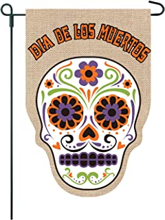 Twisted Anchor Trading Co Sugar Skull Garden Flag - Home Garden Flag Day of The Dead - 12x18 on Burlap - Double Sided Gard...