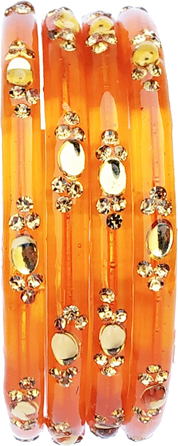 JD'Z Collection Indian Glass Bangles for Women,Bangles Bracelets Bollywood Partywear Jewelry,Orange Glass Bangles Set of 4