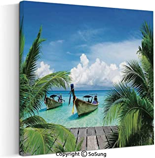 Canvas Wall Art Home Decorations for Bedroom Living Room Beach and Tropical Sea Wooden Deck Floating Boats Sunshine Honeypot Oil Paintings Canvas Prints Framed 24x24inch