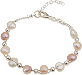 Entwined Cultured Pearl and Sterling Silver Beads 17.7