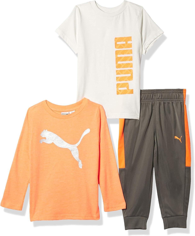 PUMA boys 3 Piece T-shirt, Long Sleeve Shirt & Jogger Set