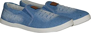 Sparx Men's Blue White Canvas Sneakers (SM-278)