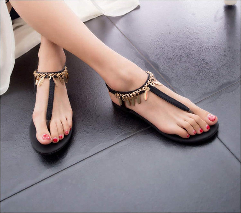 Longbao 2018 Summer Women's Roman Beaded Sequins Sandals Ladies Bohemian Fashion Joker shoes