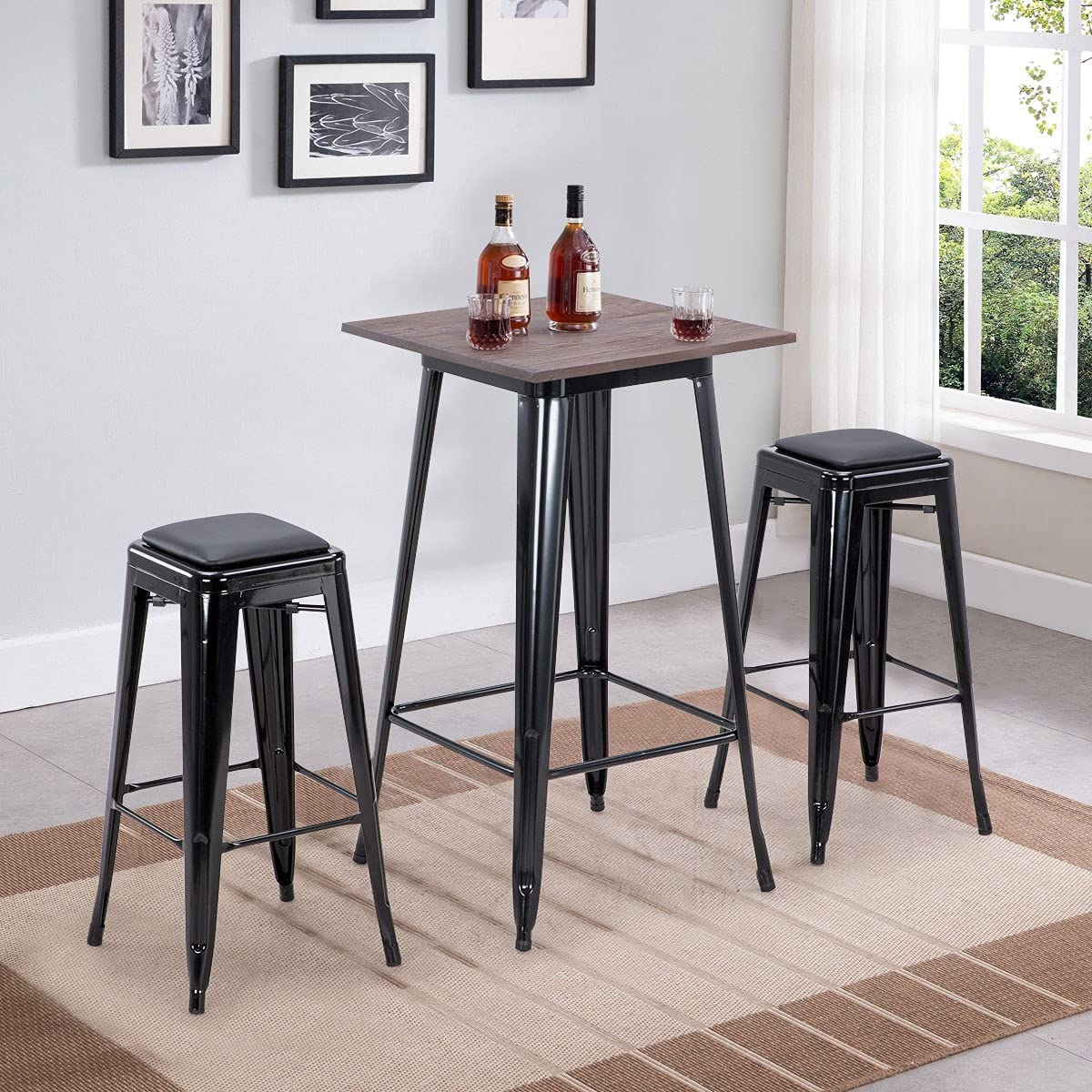 DNYKER 3 Pieces Bar Table and Pub Chairs with PU Leath Large special price Set Ranking TOP13