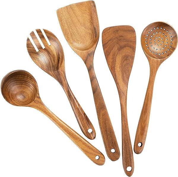 木制烹饪用具厨房有机木质勺子烹饪工具不粘锅套锅 100 纯手工制作的天然柚木月没有任何绘画集