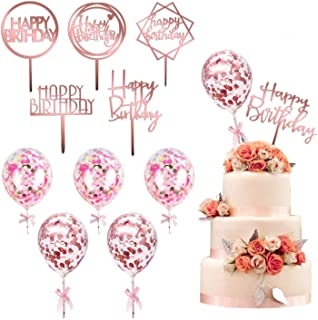 kortes 12 Pack Rose Gold Set Topper Cake Topper Set، 6 Pattens Acrylic Topper Cake Topper with 6 PCs Ballet Confetti Balloon Happy Birthday Cake Topper Cake Topper Cakes لوازم دکوراسیون