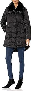 Trina Turk Women's Adriana Asymmetric-Zip Down Coat with Fur Trim Collar
