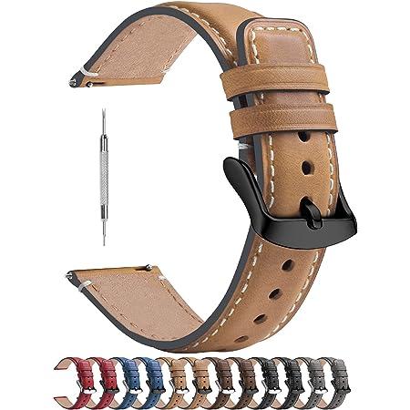 Fullmosa Bracelet de Montre 18mm/20mm/22mm en Cuir doux, Bracelet Montre connectée Homme Femme avec Fermoir en Forme D la Serie YOLA