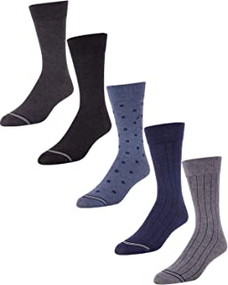 'Nautica Men\'s Moisture Wicking Dress Socks with Stay Up Cuff (5 Pack), Shoe Size 6-12.5, Multi'
