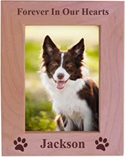 Forever in Our Hearts Custom Dog Memorial Wood Picture Frame - Fits 5x7 Inch Picture (5x7 Vertical)