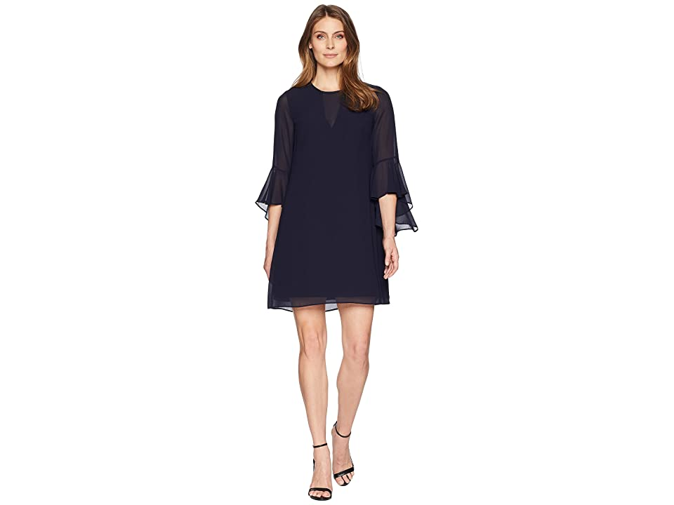 Vince Camuto Float with Bell Sleeves and V-Neck Illusion (Navy) Women