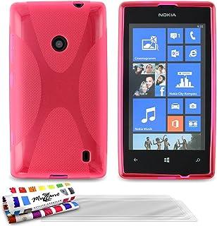 MUZZANO Original Le X premium flexibelt skal skal skal skal med 3 ultraklart skärmskydd för Nokia Lumia 520 – rosa