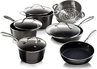 Granite Stone Diamond Hammered Collection – 15 Piece Premium Cookware & Bakeware Set with Nonstick Coating, Aluminum Composition– Includes Fry Pans, Stock Pots, Bakeware Set & More, Dishwasher Safe