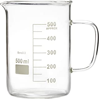 Microyn Glass Beaker with Handle, Beaker Mug with Pouring Spout, 500ml (16.9oz)