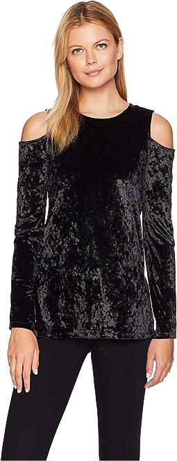 Velvet Long Sleeve Cold Shoulder