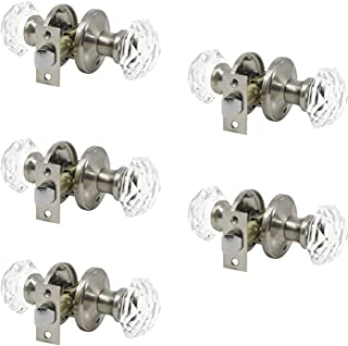 Probrico Hardware (5 Pack) Diamond Crystal Door Knobs, Keyless Knobs Privacy Function for Bed and Bath Doors, Classic Round Glass Door Lock Satin Nickel,Perfect for Replacing Broken Antique Lock