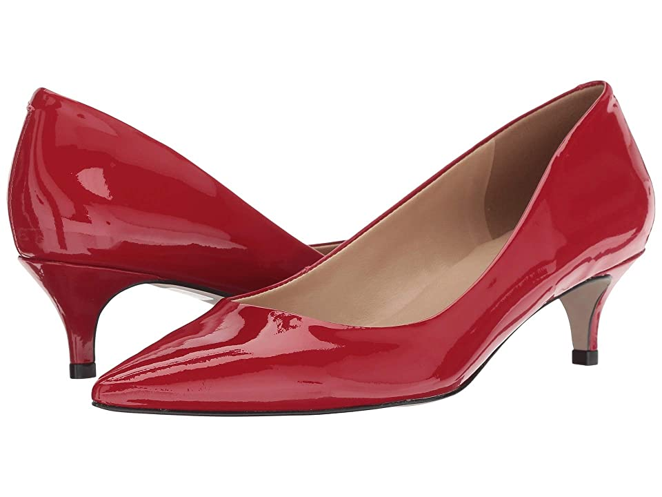 Pin Up Shoes- Heels, Pumps & Flats Massimo Matteo Pointy Toe Kitten Heel Rojo Patent Womens 1-2 inch heel Shoes $95.00 AT vintagedancer.com