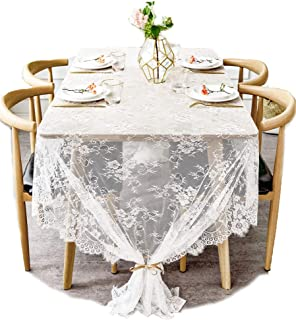 BOXAN 60x120 Inch Gorgeous White Lace Tablecloth Overlay Rose Vintage Embroidered, Romantic Boho Wedding Reception Table Decor, Baby & Bridal Shower Décor, Elegant Chic Outdoor Tea Party Tablecover