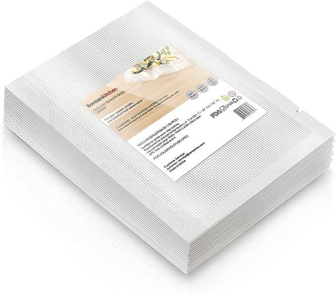 922 opinioni per Bonsenkitchen Sacchetti Sottovuoto per Alimenti,50 Buste 15x25 cm Buste