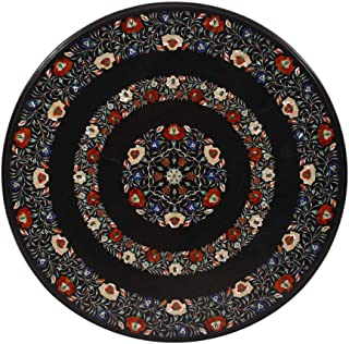Artefactindia Octagonal Coffee Table with Inlaid Gemstone on Black Marble Stone for Dining, Living, Patio, Gazebo, Pergola | Fine Pietra Dura Italian Artwork | Handmade 36 Inches Diagonally