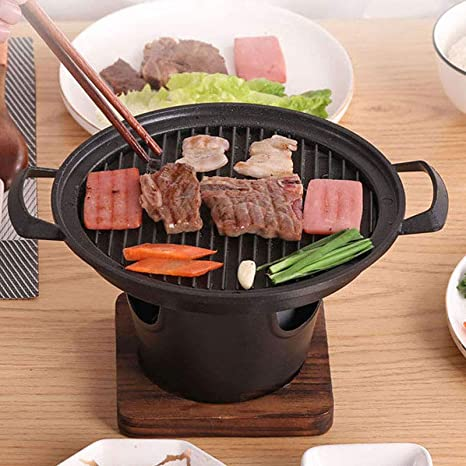 Amazon Com Bbq Alcohol Stove Cast Iron And Aluminum Alloy Mini Grill Single Serving Household Hibachi Grill Roasting Pans With Wooden Base Fuel Holder Kitchen Dining