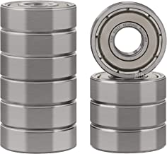 XiKe 10 Pcs 608ZZ Double Metal Seal Bearings 8x22x7mm, Pre-Lubricated and Stable Performance and Cost Effective, Deep Groove Ball Bearings.