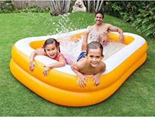 Intex 90in x 58in x 18in Outdoor Inflatable Family Swim Center, Orange (2 Pack)