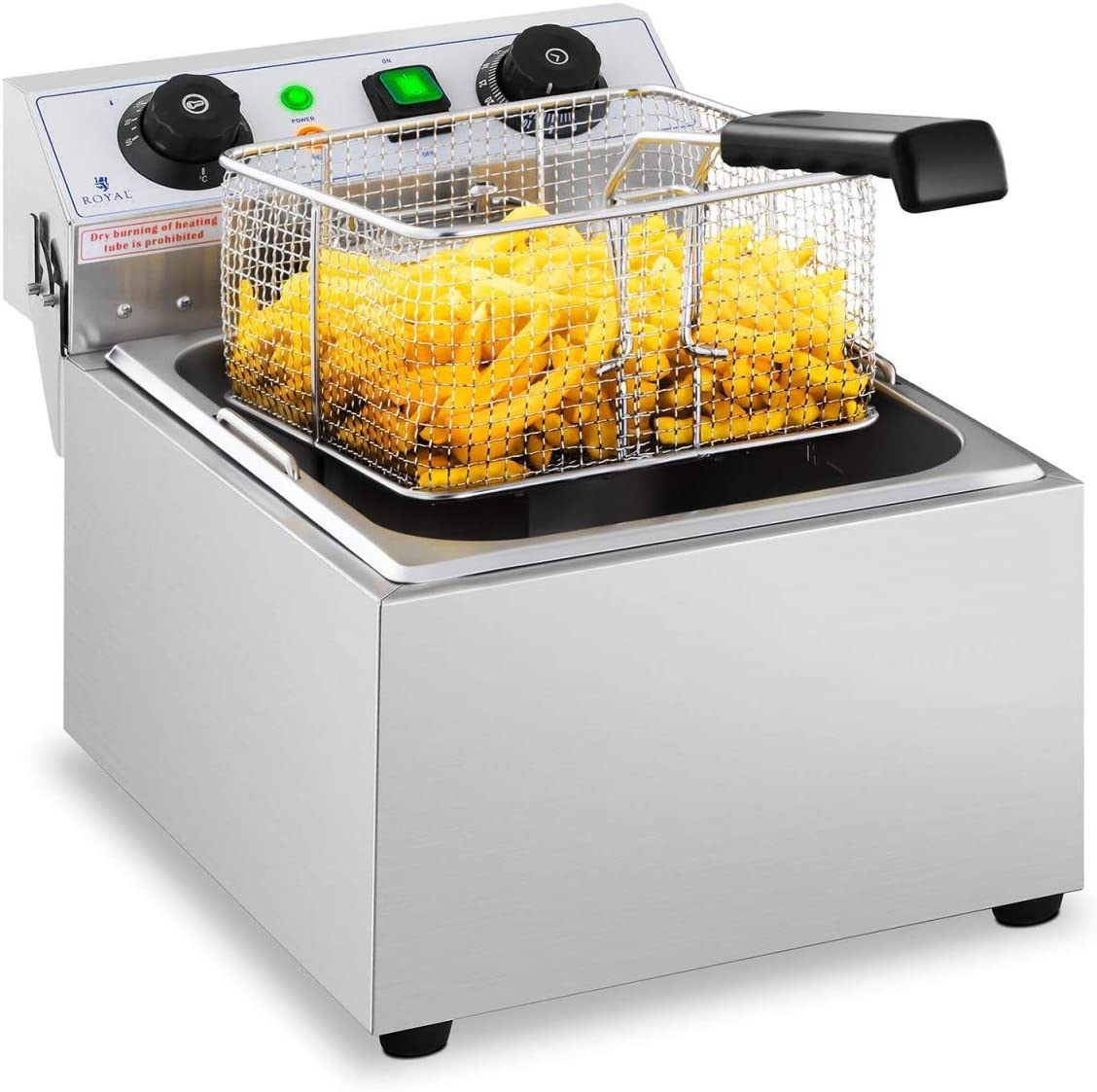 Royal Catering Freidora Eléctrica Para Hostelería 10 Litros 230 V RCTF 10EB (3.200 Watt, Temporizador 60 Min, Temperatura: 50-200 °C)