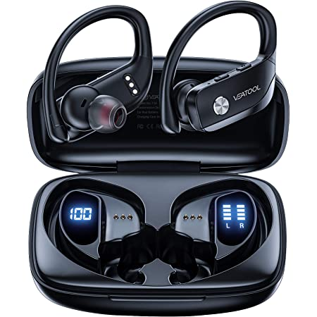 VEATOOL Wireless Earbuds Bluetooth Headphones 48hrs Play Back Sport Earphones with LED Display Ear Buds with Earhooks Built-in Mic Headset for Workout