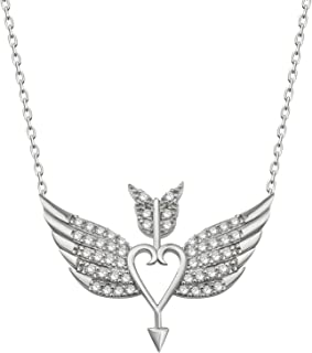 Rhodium-Plated Sterling Silver with Cubic Zirconia Gems Winged-Heart Pendant Necklace, 16
