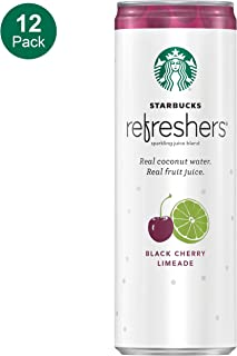 Starbucks Refreshers Sparkling Juice Blends, Black Cherry Limeade with Coconut Water, 12 Fl. Oz (12 Pack)