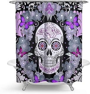HMWR Sugar Skull Shower Curtain Purple Flower Butterfly Waterproof Polyester Fabric Bathroom Deco 72