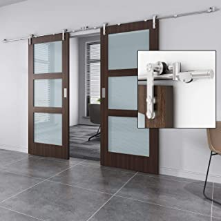 EaseLife 10 FT Stainless Steel Double Sliding Barn Door Hardware Track Kit,Heavy Duty,Anti-Rust,Slide Smoothly Quietly,Easy Install,Fit Double 30