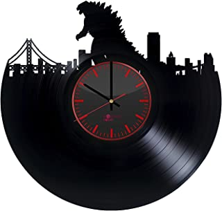 Godzilla Vinyl Record Wall Clock - Get unique home room or office wall decor - Gift ideas for his and her – Comics Character Unique Modern Art