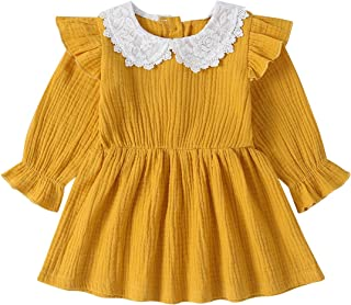 Xifamniy Infant Girls Long Sleeve Dresses Solid Color Lace Doll Collar Cotton Tutu Dress